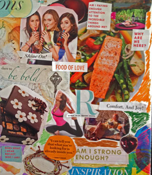This is a Photo depicting Inspiration Board for Blog - Girlfriends, chocolate, yoga, relaxation and healthy food