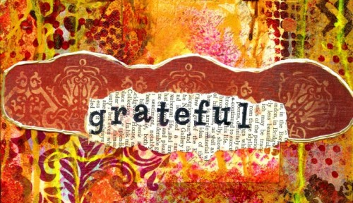 "a portion of a collage that says ""grateful"" in beautiful shades of brown and gold"