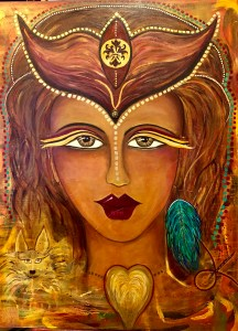 Meet my legend warrior goddess - brown skin, brown eyes, burgundy lips, headdress, heart wings over her throat, a dog in the lower left corner and a turquoise earring in her left ear