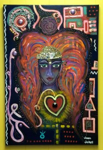 This is a painting with a muse in the center painted in shades of purple with orange colored hair with a map of symbols around the outside of the painting with jewelry placed throughout the piece