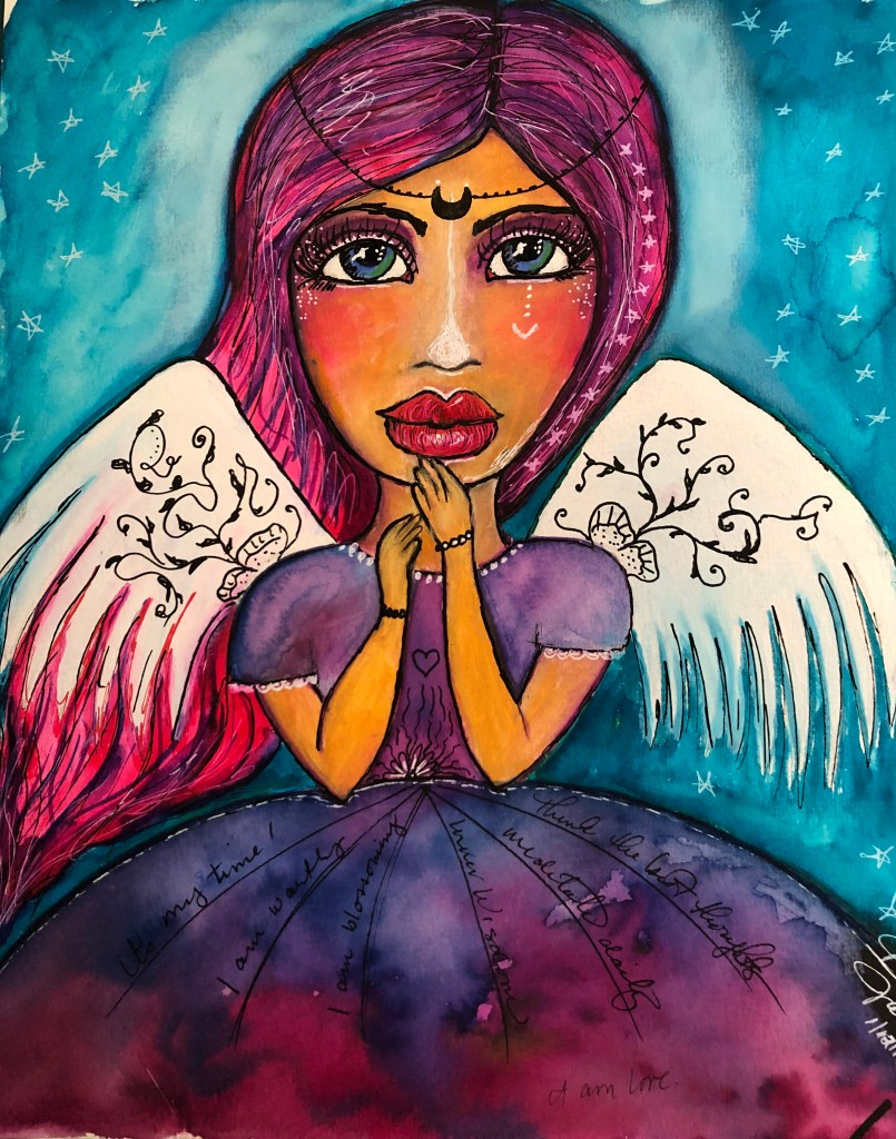 The final version of the New Year Angel - purple dress, white wings, pink hair and a black beaded headdress