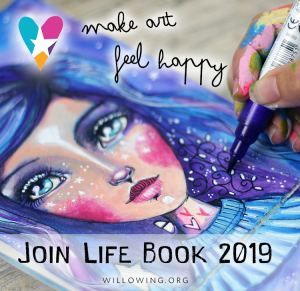 An image of a whimsical female face with purple hair and it states: Make Art Feel Happy, Join Life Book 2019
