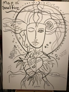 An image of a large canvas with the beginnings of drawing before painting - a face, a heart and winged eye