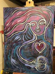The lady emerges - more outlines of a woman on the painting