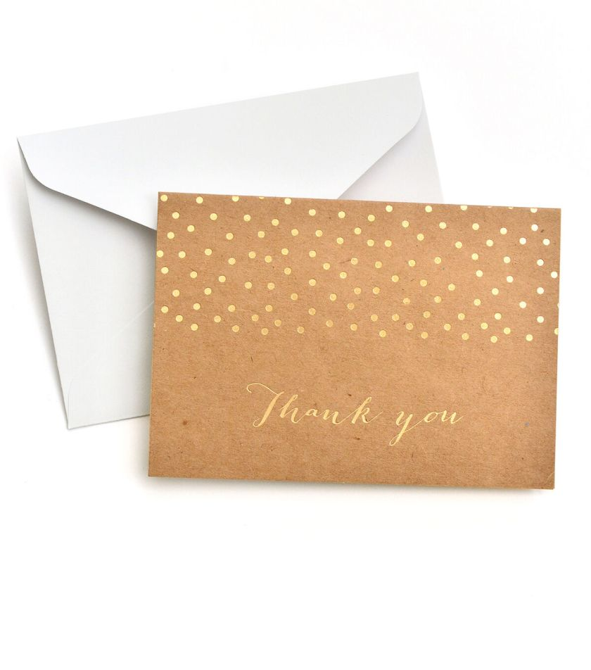 Save The Date 40 Pack Kraft Cards Envelopes Gold Foil Thank You