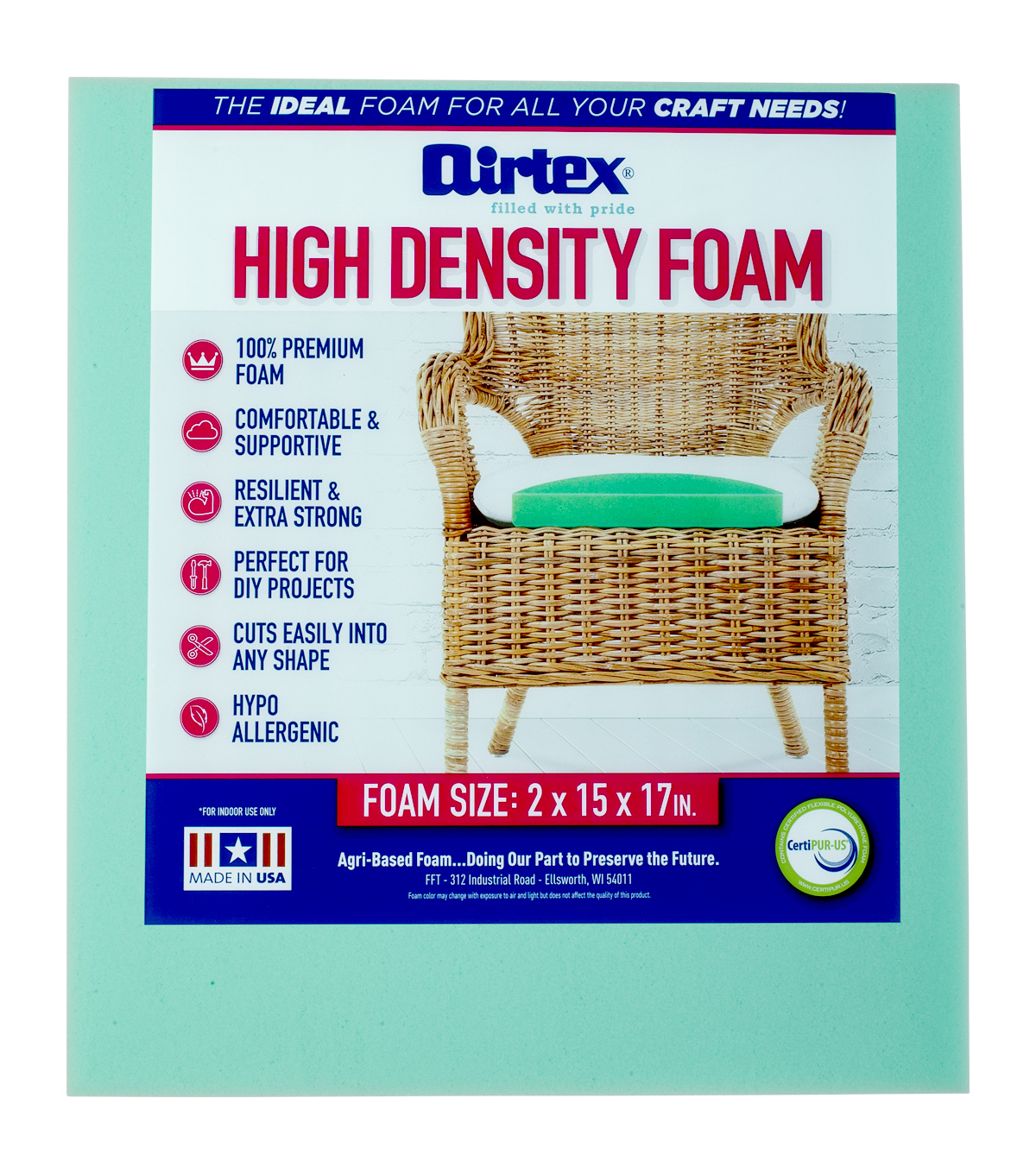 chair pad foam staples ergonomic mesh executive with headrest airtex high density 2 x15 x17 joann u0022x15 u0022x17 u0022