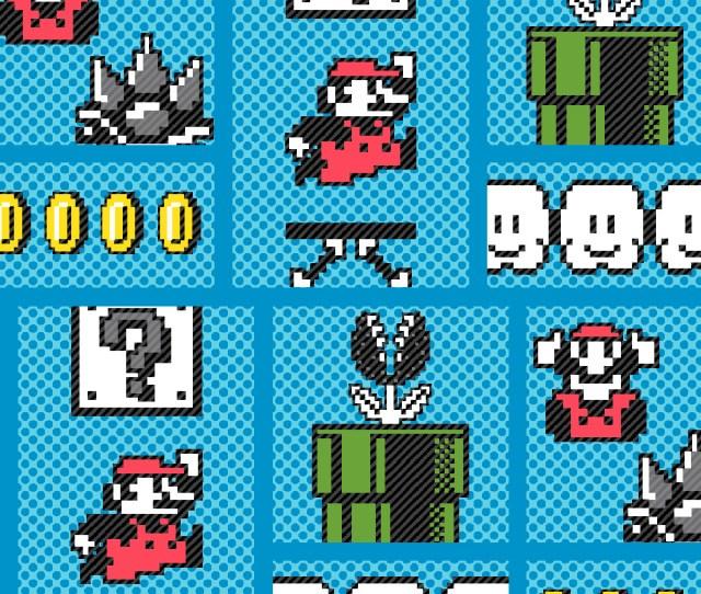 Nintendo Super Mario Cotton Fabric Retro Game Board