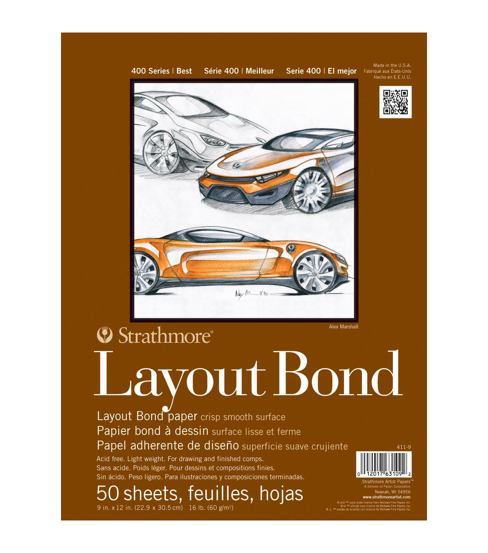 Strathmore Layout Bond Paper Pad 9 X12 16lb 50 Sheets