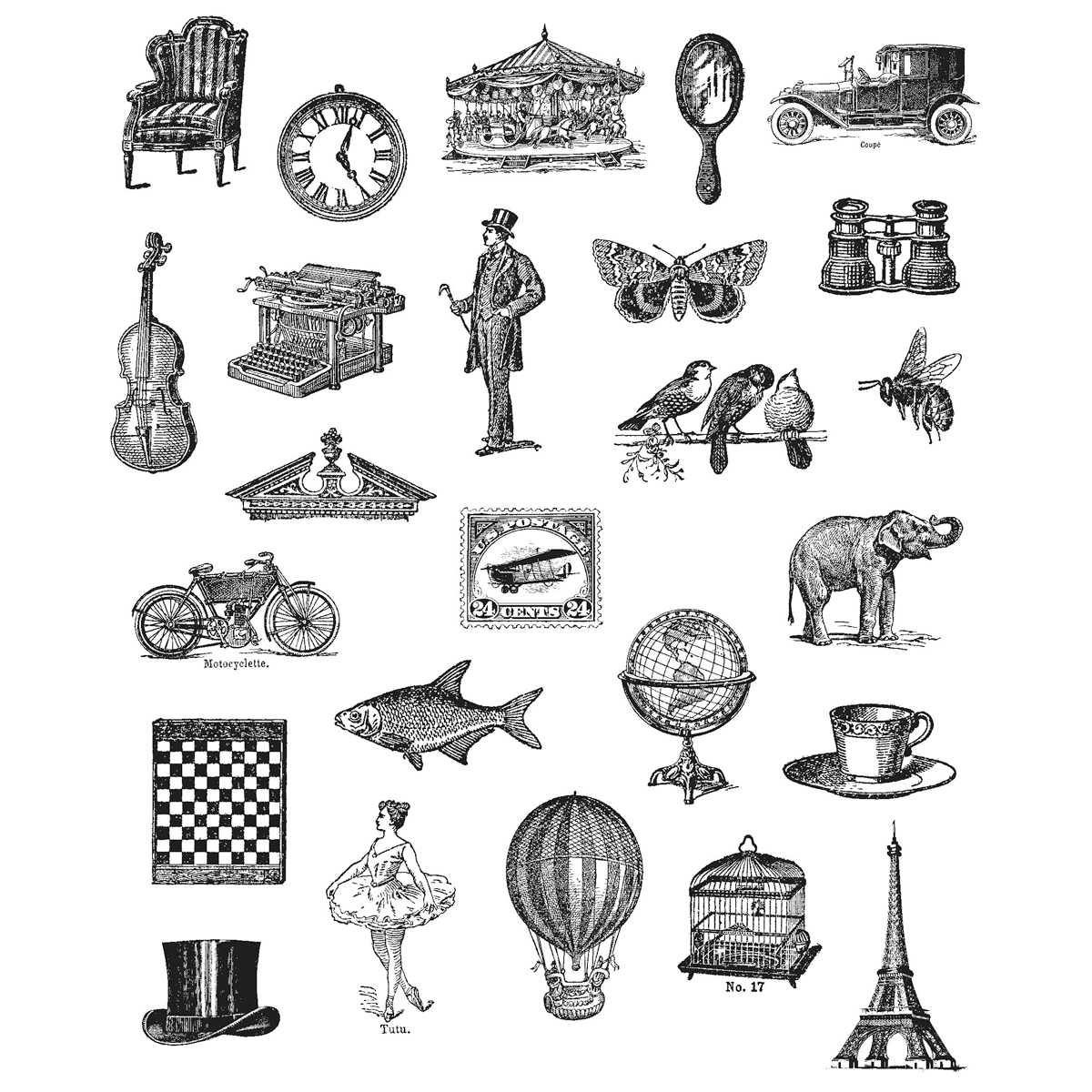 Stampers Anonymous Tim Holtz Cling Rubber Stamp Set Tiny