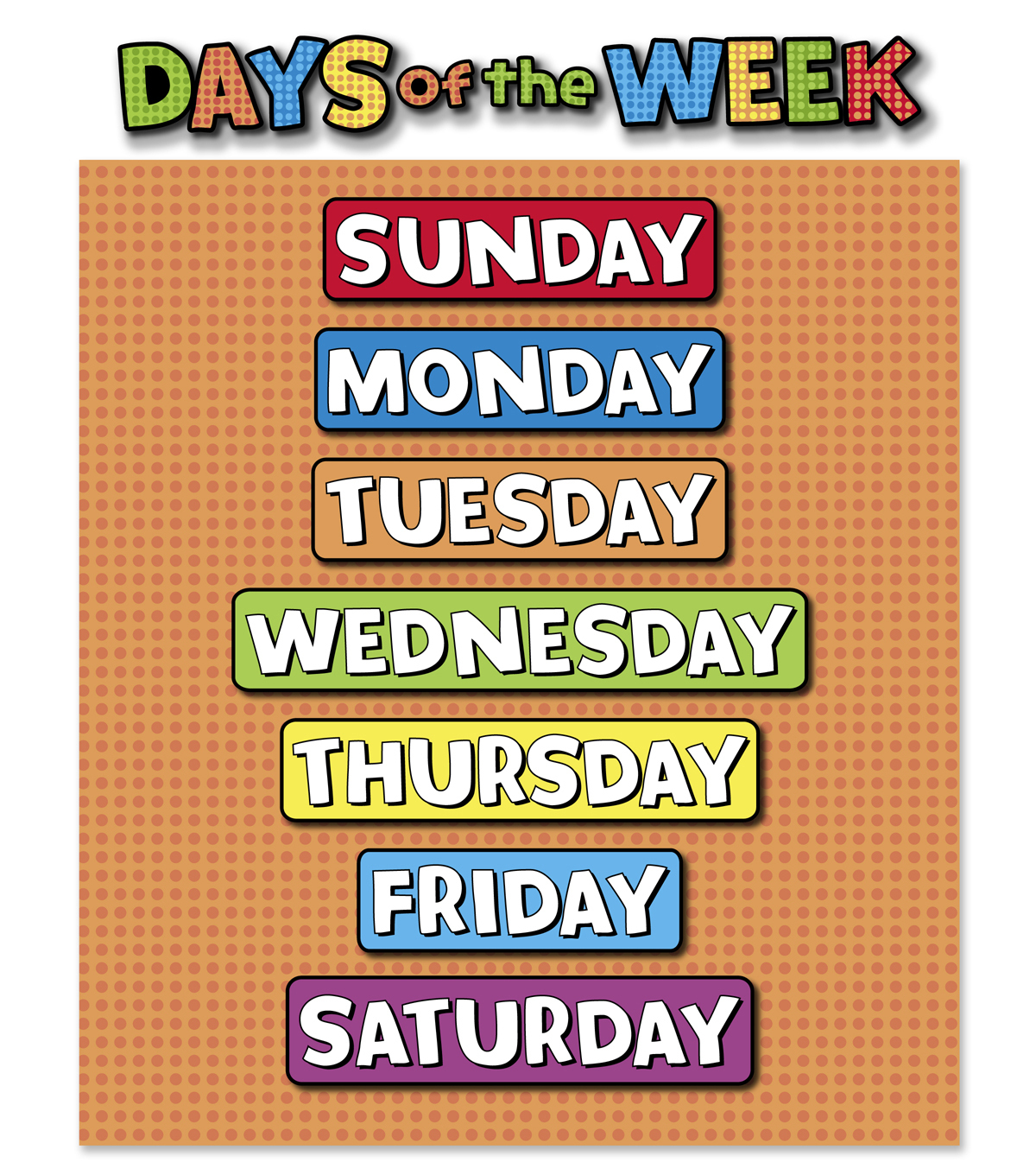 Busy Kids Learning Large Classroom Chart Days Of The Week