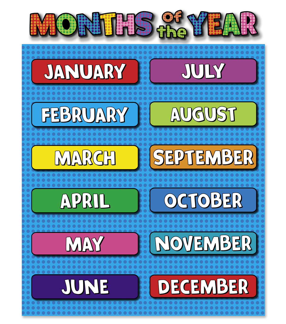 Busy Kids Learning Large Classroom Chart Months Of The