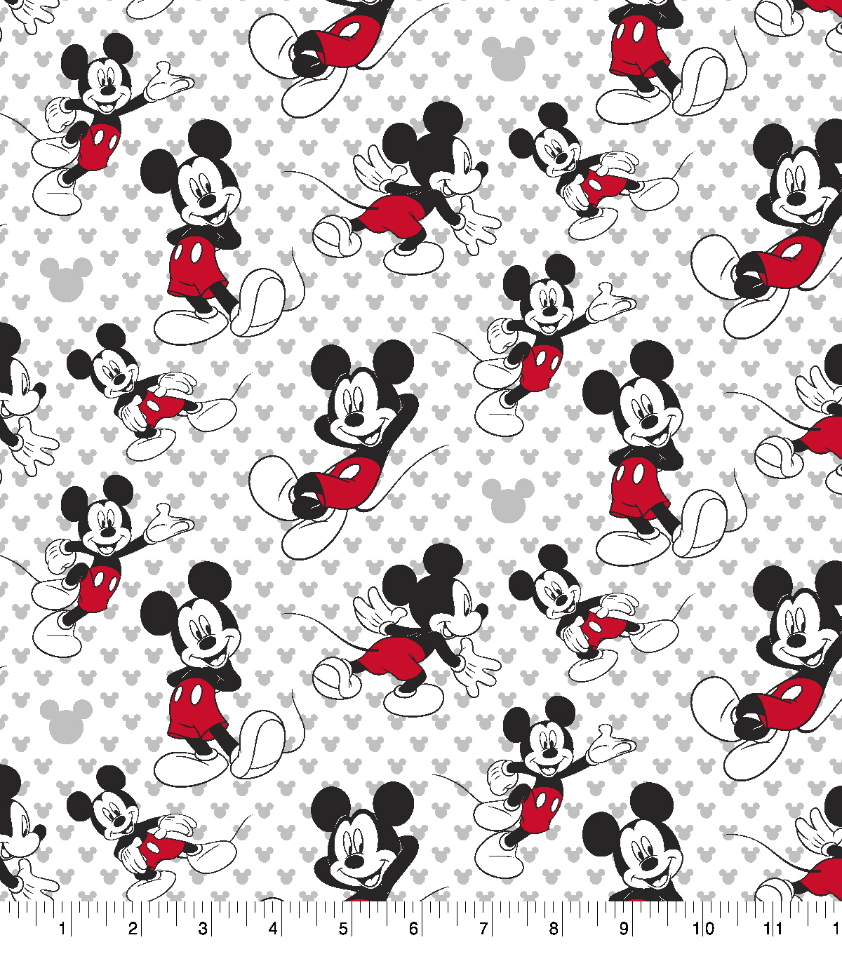 Disney Mickey Mouse Cotton Fabric 43 Totally Mickey Toss