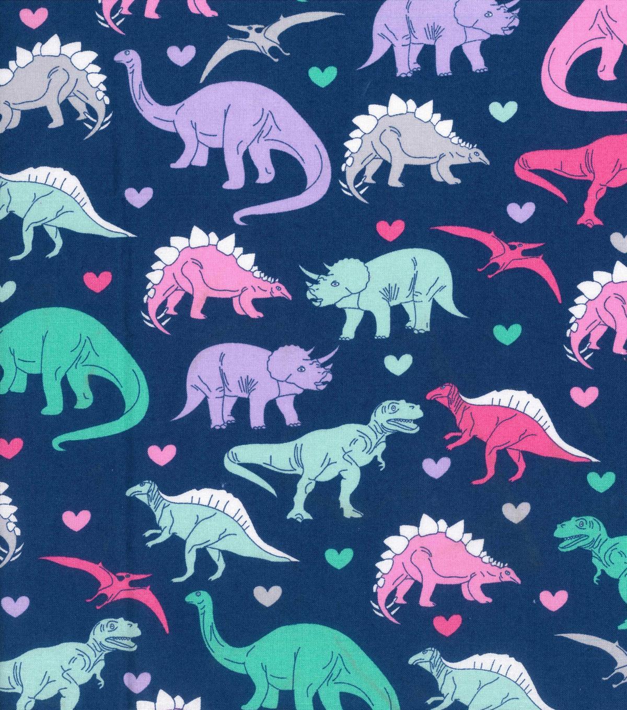 Novelty Cotton Fabric Girl Dinosaur JOANN