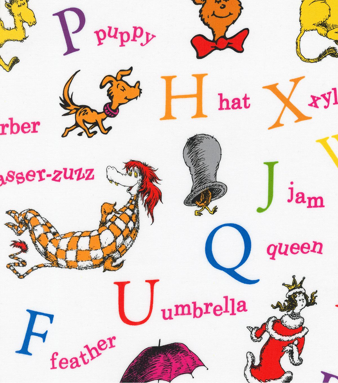 Dr Seuss Cotton Fabric Alphabet