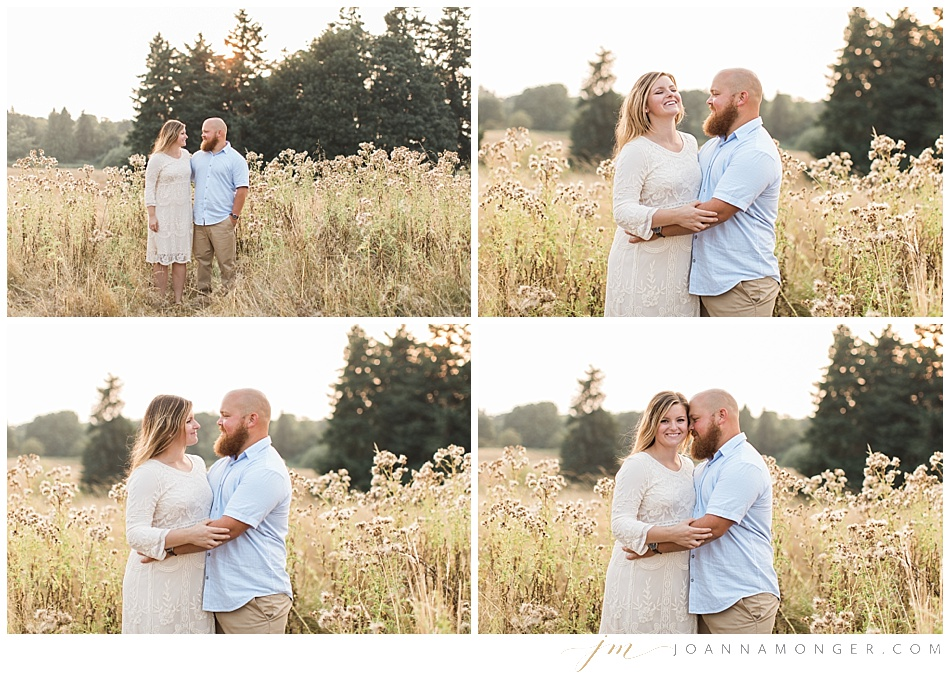 Relaxed engagement photos in Discovery Park, Seattle at sunset