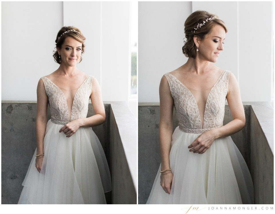 A bride has a quiet moment before her elegant wedding at Canvas Event Space in SODO, Seattle, WA. | Joanna Monger Photography | Snohomish & Seattle Wedding Photographer
