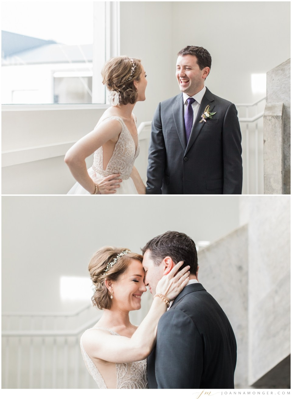 A bride and groom laugh and embrace during their elegant wedding at Canvas Event Space in SODO, Seattle, WA. | Joanna Monger Photography | Snohomish & Seattle Wedding Photographer
