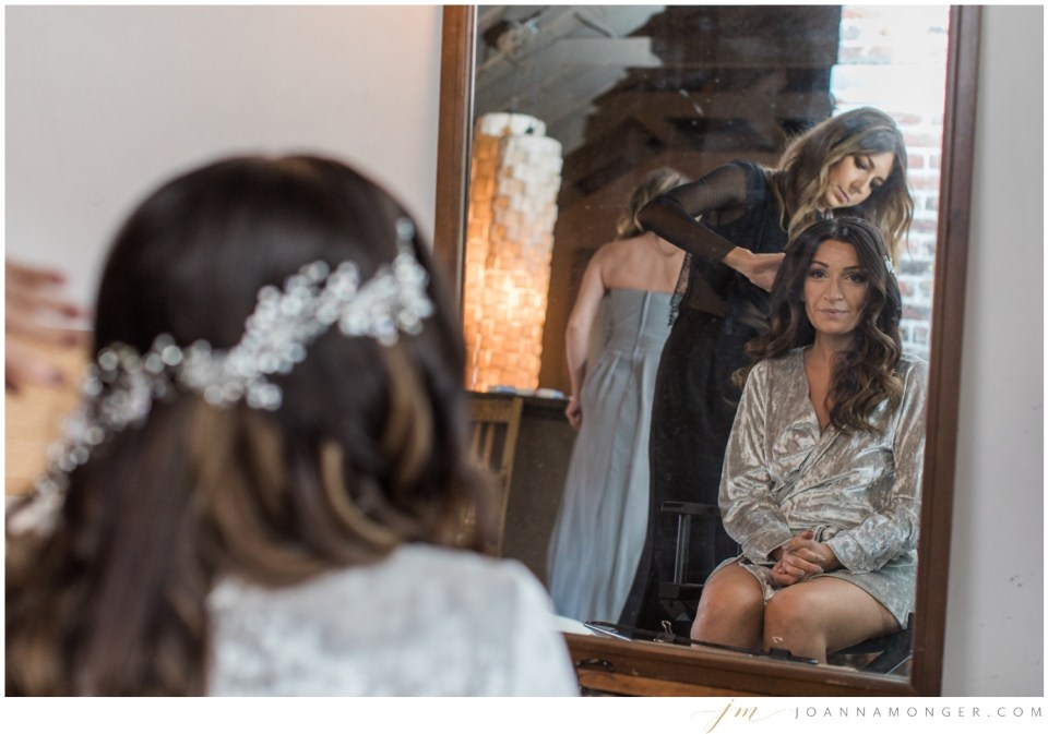 A bride gets ready for her gorgeously-detailed wedding at the Corson Building in SODO, Seattle, WA.   Joanna Monger Photography   Snohomish & Seattle Wedding Photographer
