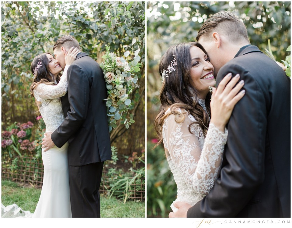 A bride and groom lovingly embrace during their gorgeously-detailed wedding at the Corson Building in SODO, Seattle, WA. | Joanna Monger Photography | Snohomish & Seattle Wedding Photographer