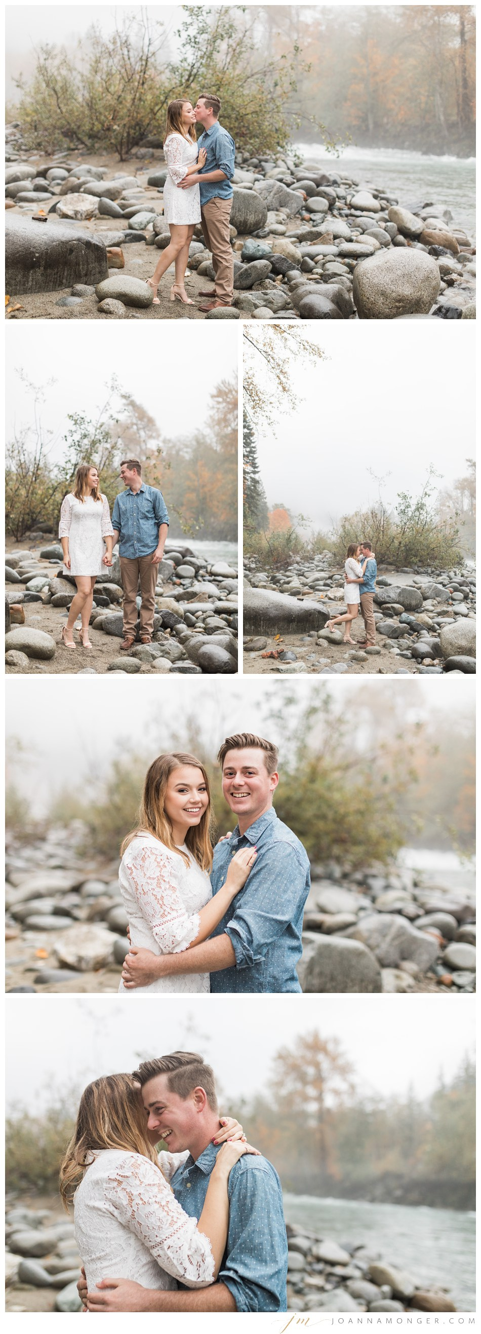 A couple lovingly holds hands and embraces for their mountain engagement shoot in Snohomish, WA. | Joanna Monger Photography | Snohomish & Seattle Wedding Photographer