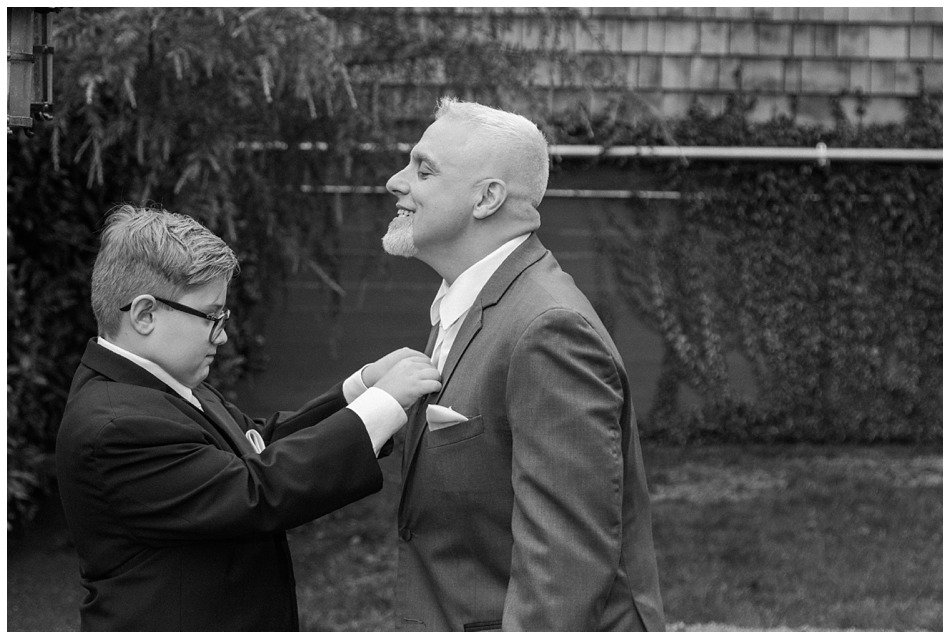Photo of a groom and his son-in-law getting ready for a a special winter wedding at Hidden Meadows, a wedding venue in Snohomish near Seattle, WA. | Joanna Monger Photography | Snohomish & Seattle Wedding Photography