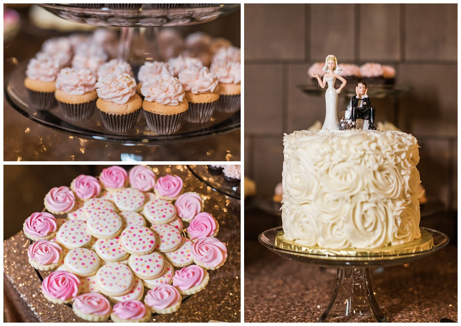 Photos of the wedding cake and dessert bar from a special winter wedding at Hidden Meadows, a wedding venue in Snohomish near Seattle, WA. | Joanna Monger Photography | Snohomish & Seattle Wedding Photography