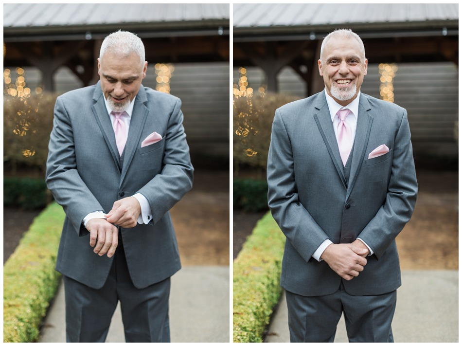 Photo of the groom from a a special winter wedding at Hidden Meadows, a wedding venue in Snohomish near Seattle, WA. | Joanna Monger Photography | Snohomish & Seattle Wedding Photography
