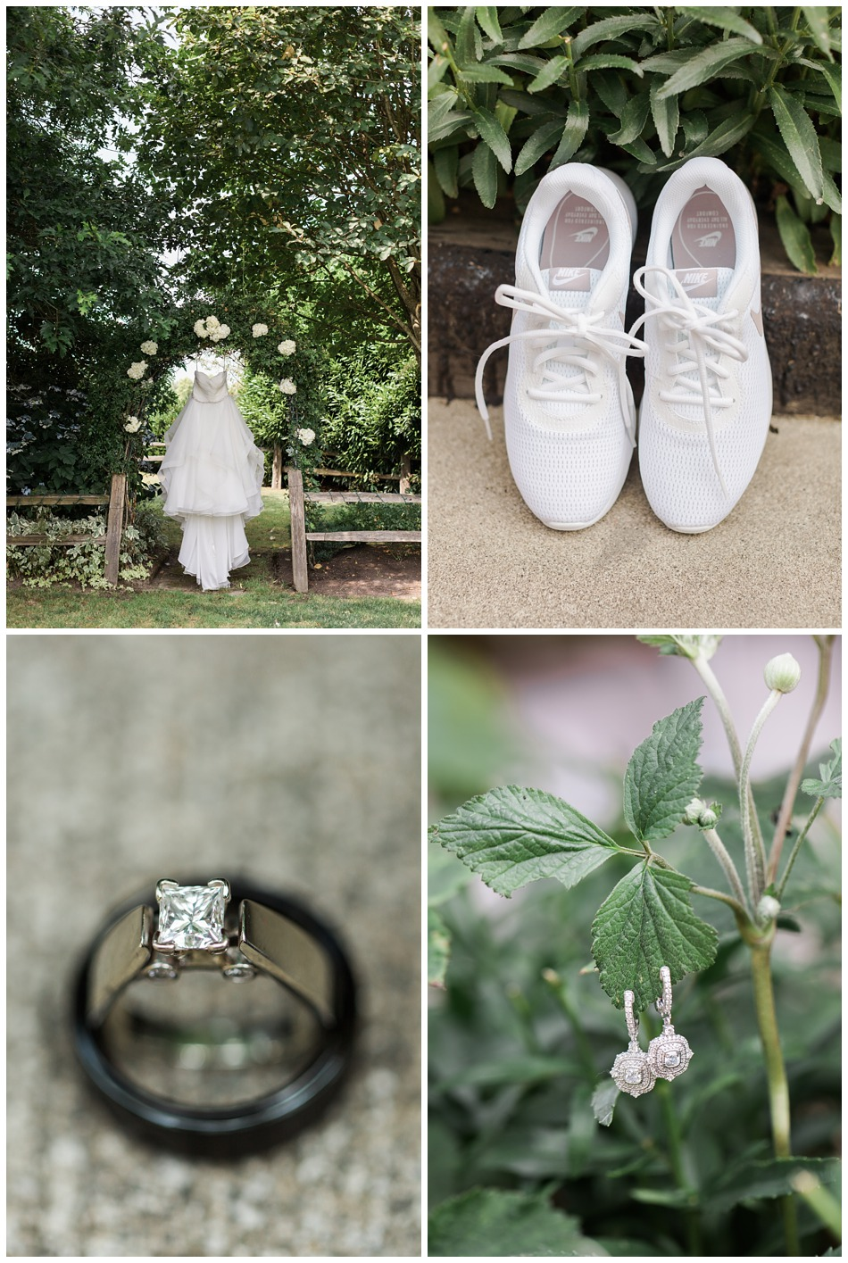 Photo of wedding dress and accessories for a rustic barn wedding at Craven Farms in Snohomish, a wedding venue near Seattle. | Joanna Monger Photography