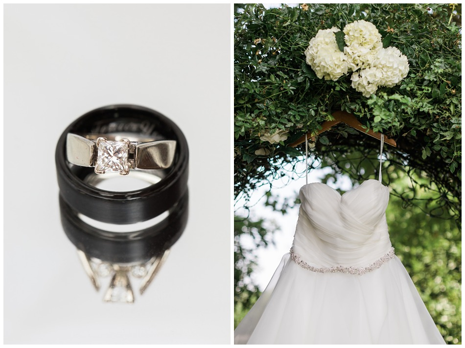 Photo of wedding rings and wedding dress for a rustic barn wedding at Craven Farms in Snohomish, a wedding venue near Seattle. | Joanna Monger Photography