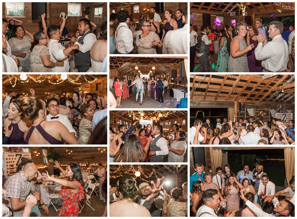 Photo of wedding party dancing at reception during a rustic barn wedding at Craven Farms in Snohomish, a wedding venue near Seattle. | Joanna Monger Photography