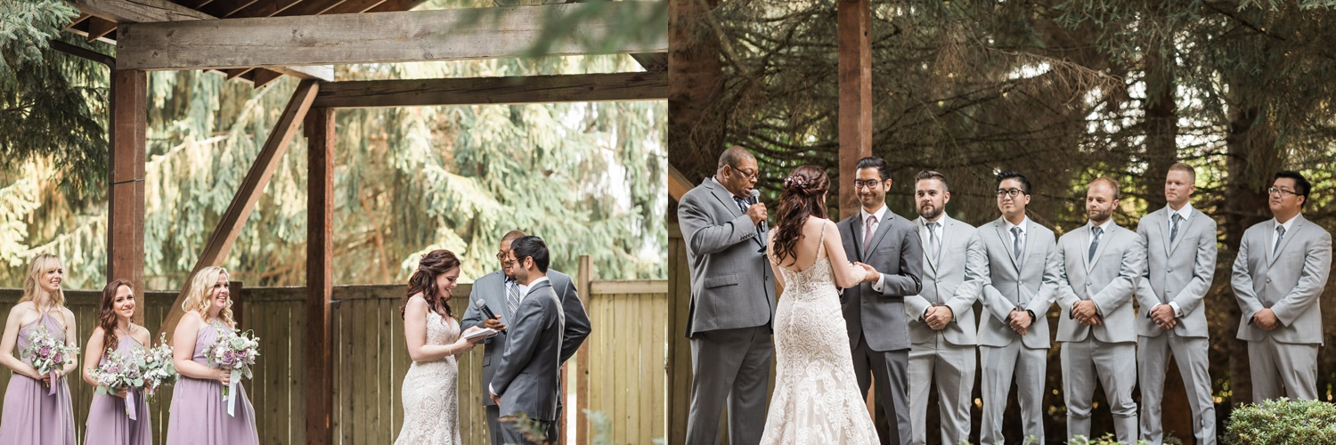 A bride and groom recite their vows during their wedding ceremony at Woodland Meadow Farms in Snohomish, a wedding venue near Seattle, WA. | Joanna Monger Photography | Seattle & Snohomish Photographer