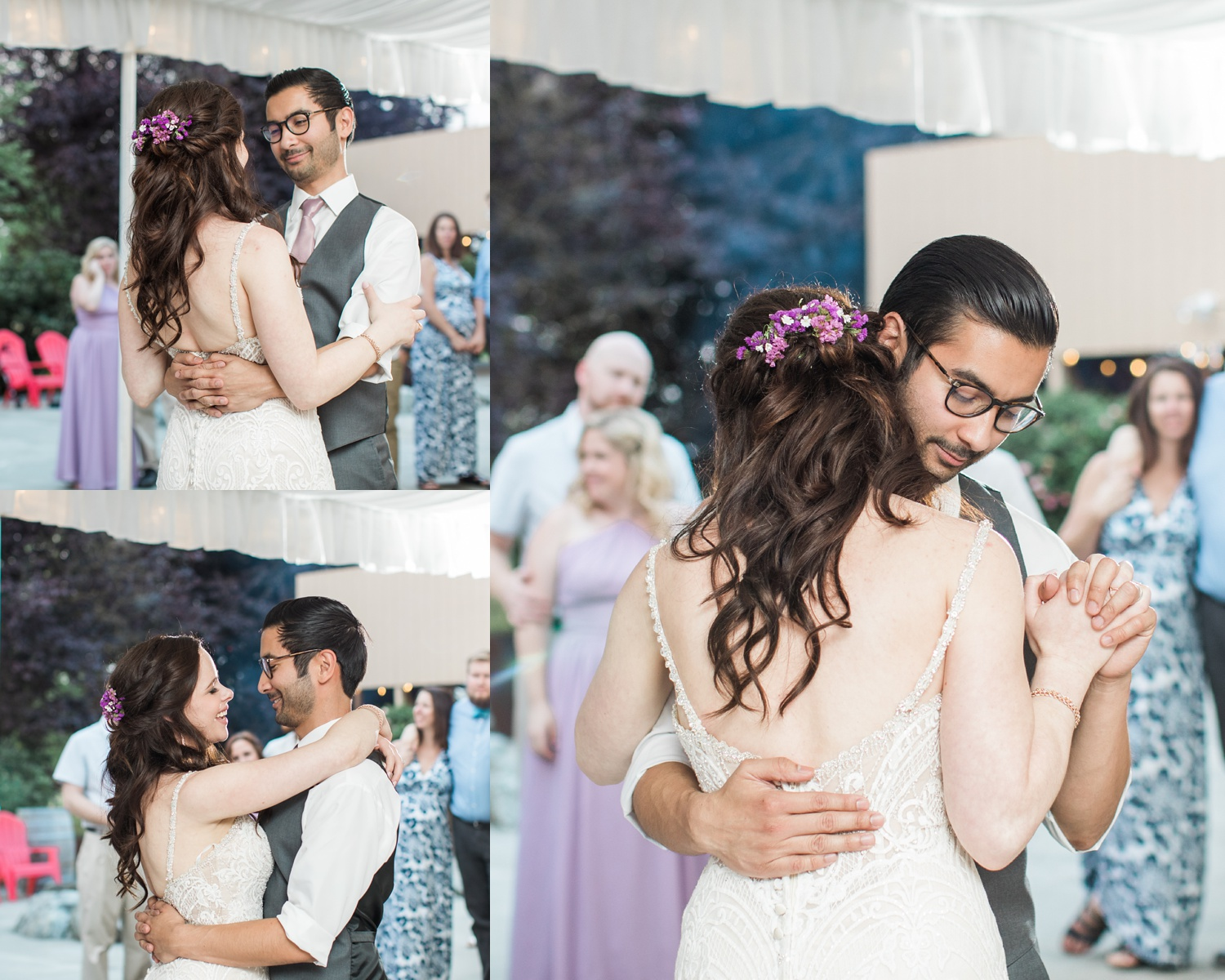 A bride and groom share their first dance during a wedding at Woodland Meadow Farms in Snohomish, a wedding venue near Seattle, WA. | Joanna Monger Photography | Seattle & Snohomish Photographer