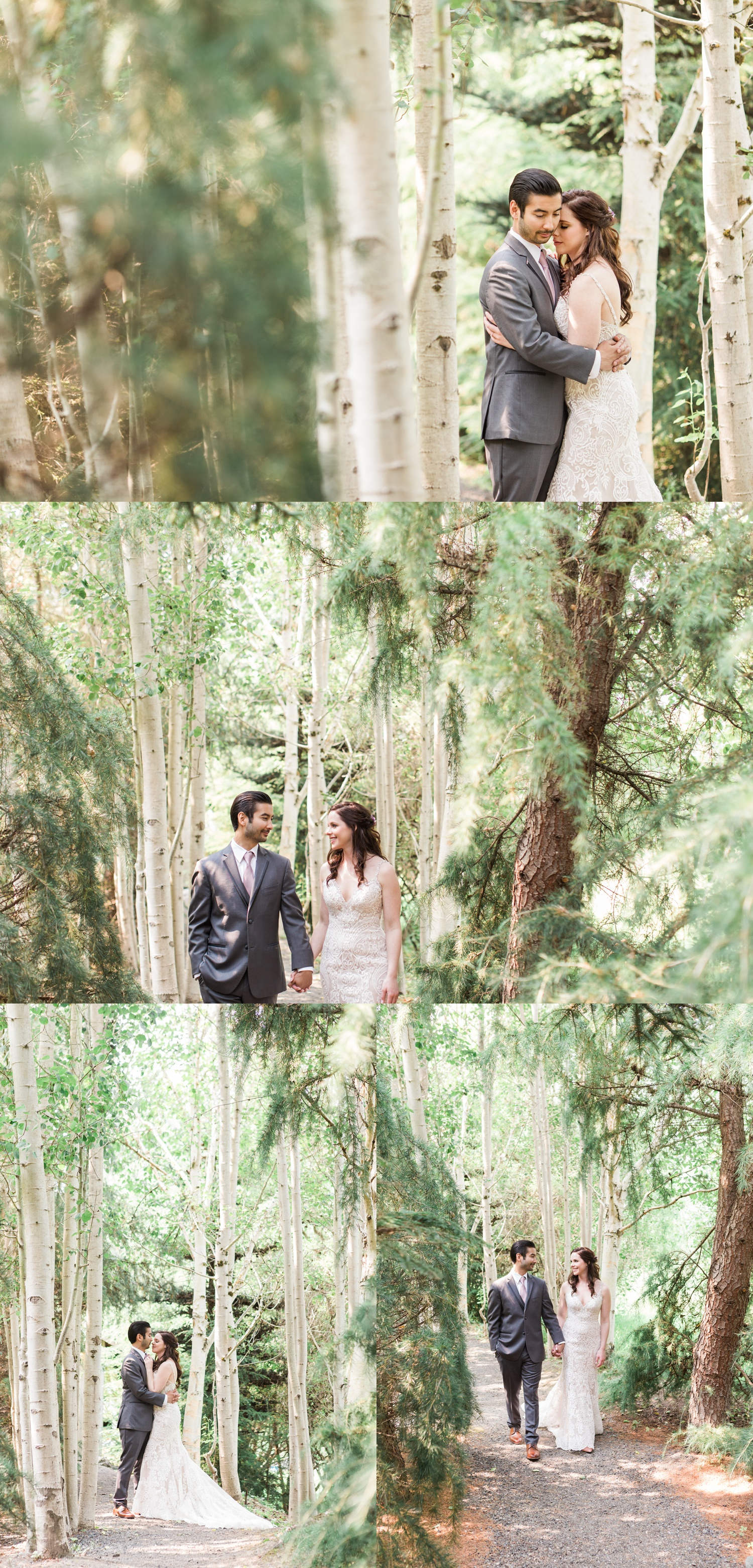 Wedding in the forest at Woodland Meadow Farms in Snohomish. Bride & groom walking through woods.
