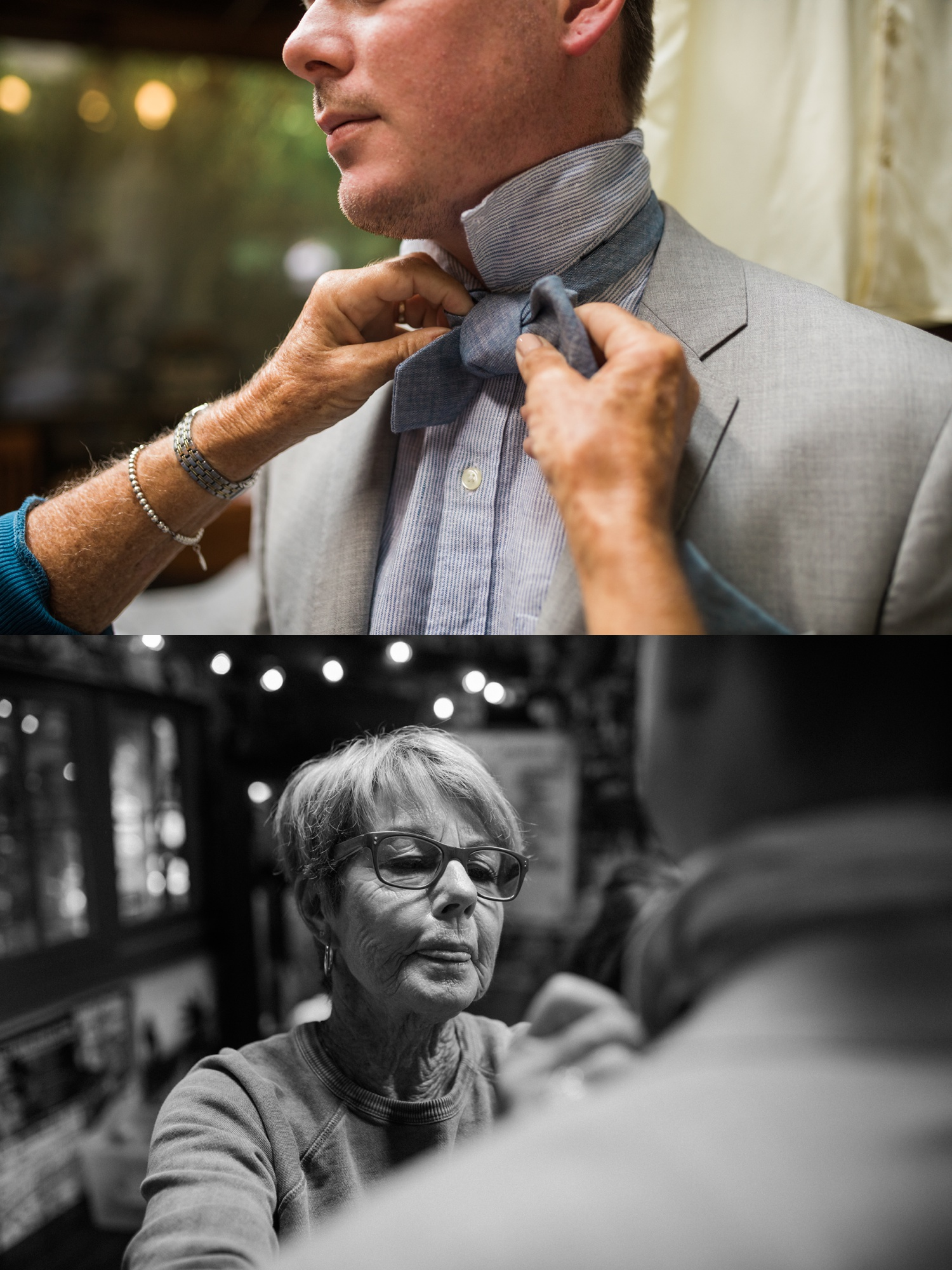 A groom receives help with his tie before his summer wedding at Maroni Meadows in Snohomish, a wedding venue near Seattle, WA. | Joanna Monger Photography | Seattle & Snohomish Photographer