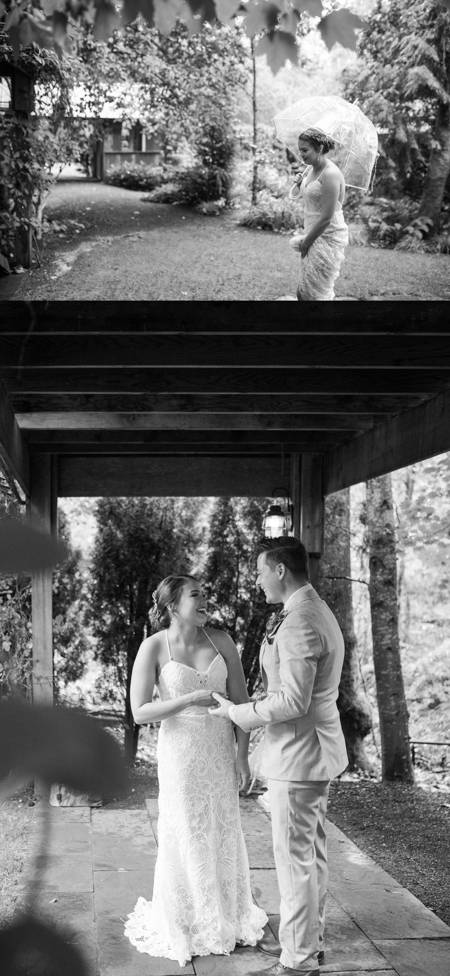 A black-and-white photo of a bride and groom before their summer wedding at Maroni Meadows in Snohomish, a wedding venue near Seattle, WA. | Joanna Monger Photography | Seattle & Snohomish Photographer
