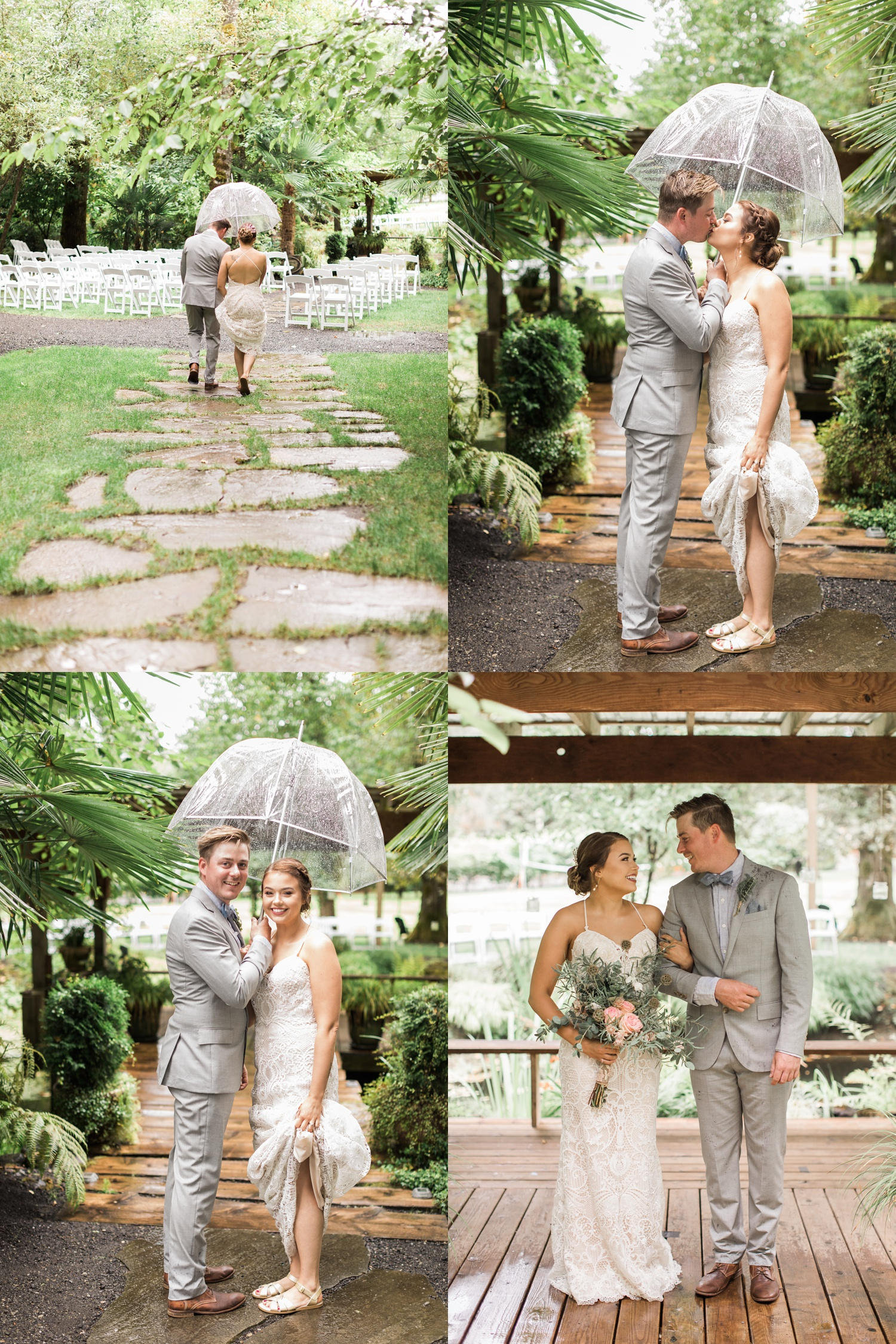 A bride and groom get caught in the rain before their summer wedding at Maroni Meadows in Snohomish, a wedding venue near Seattle, WA. | Joanna Monger Photography | Seattle & Snohomish Photographer