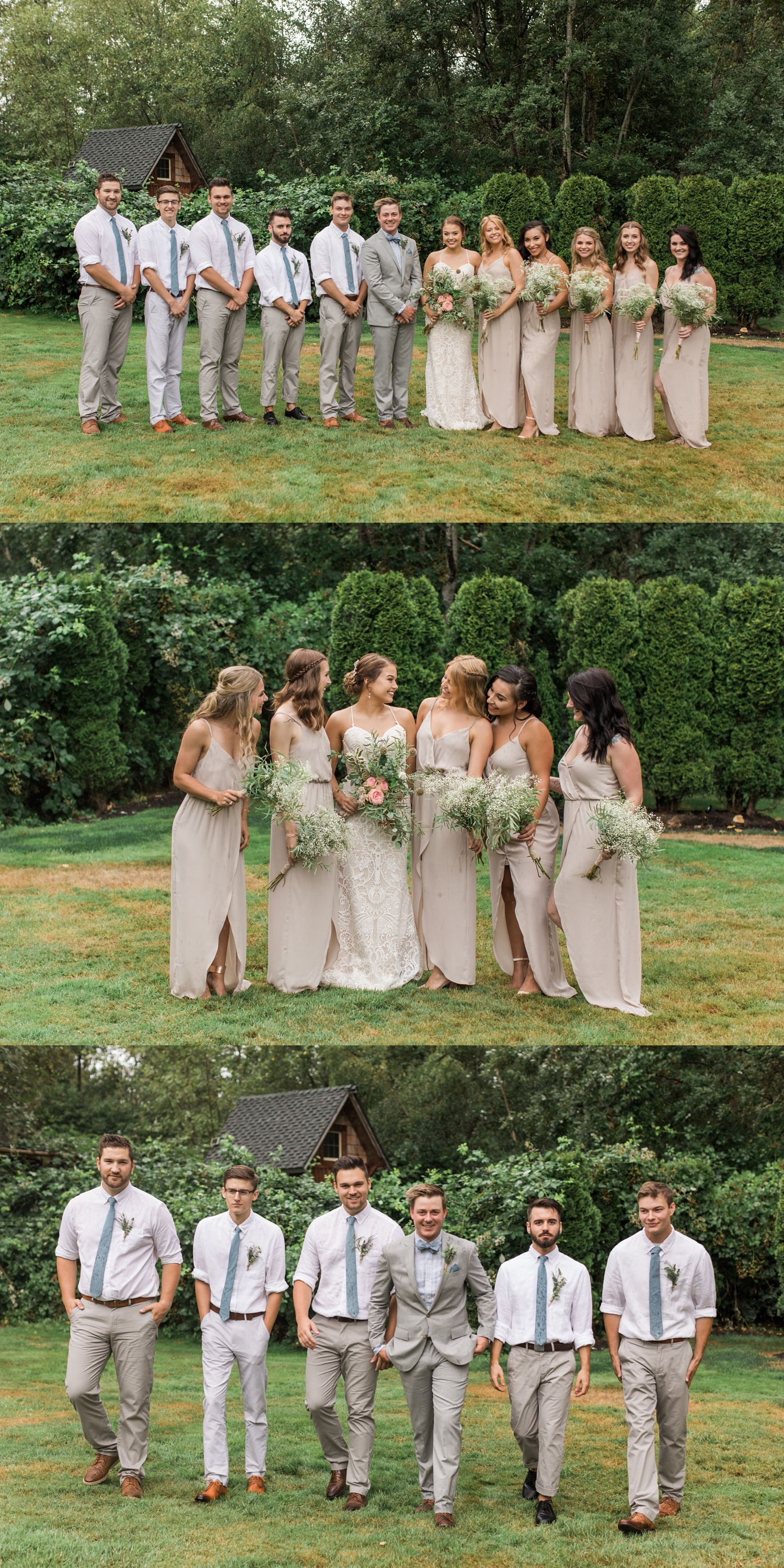 A bride chats with her bridesmaids before her summer wedding at Maroni Meadows in Snohomish, a wedding venue near Seattle, WA. | Joanna Monger Photography | Seattle & Snohomish Photographer