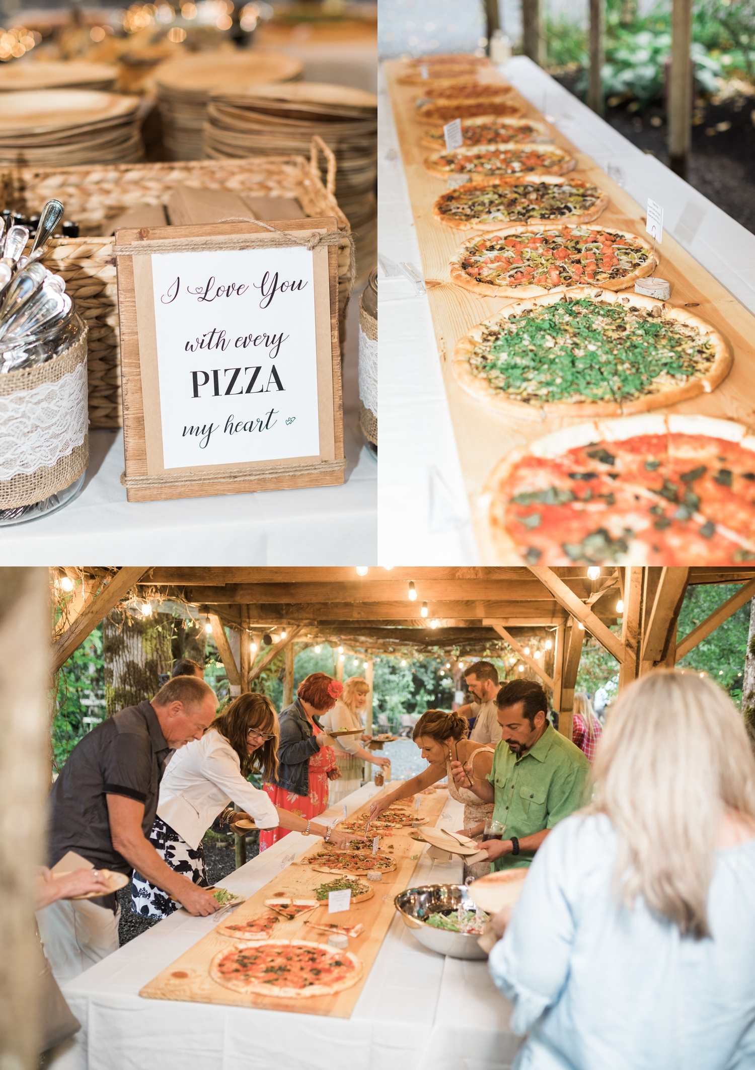 A photo of catered pizza during a reception for a summer wedding at Maroni Meadows in Snohomish, a wedding venue near Seattle, WA. | Joanna Monger Photography | Seattle & Snohomish Photographer
