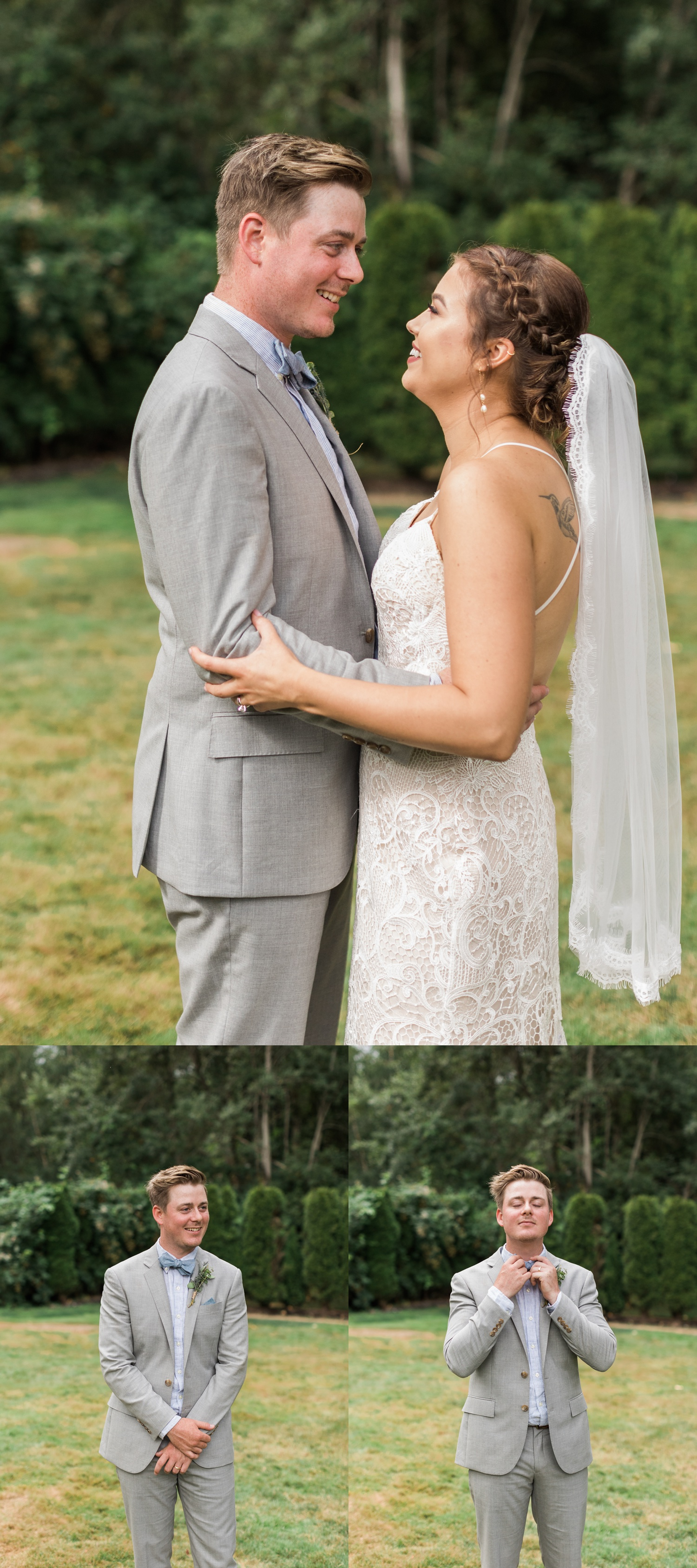 A bride and groom embrace before their summer wedding at Maroni Meadows in Snohomish, a wedding venue near Seattle, WA. | Joanna Monger Photography | Seattle & Snohomish Photographer