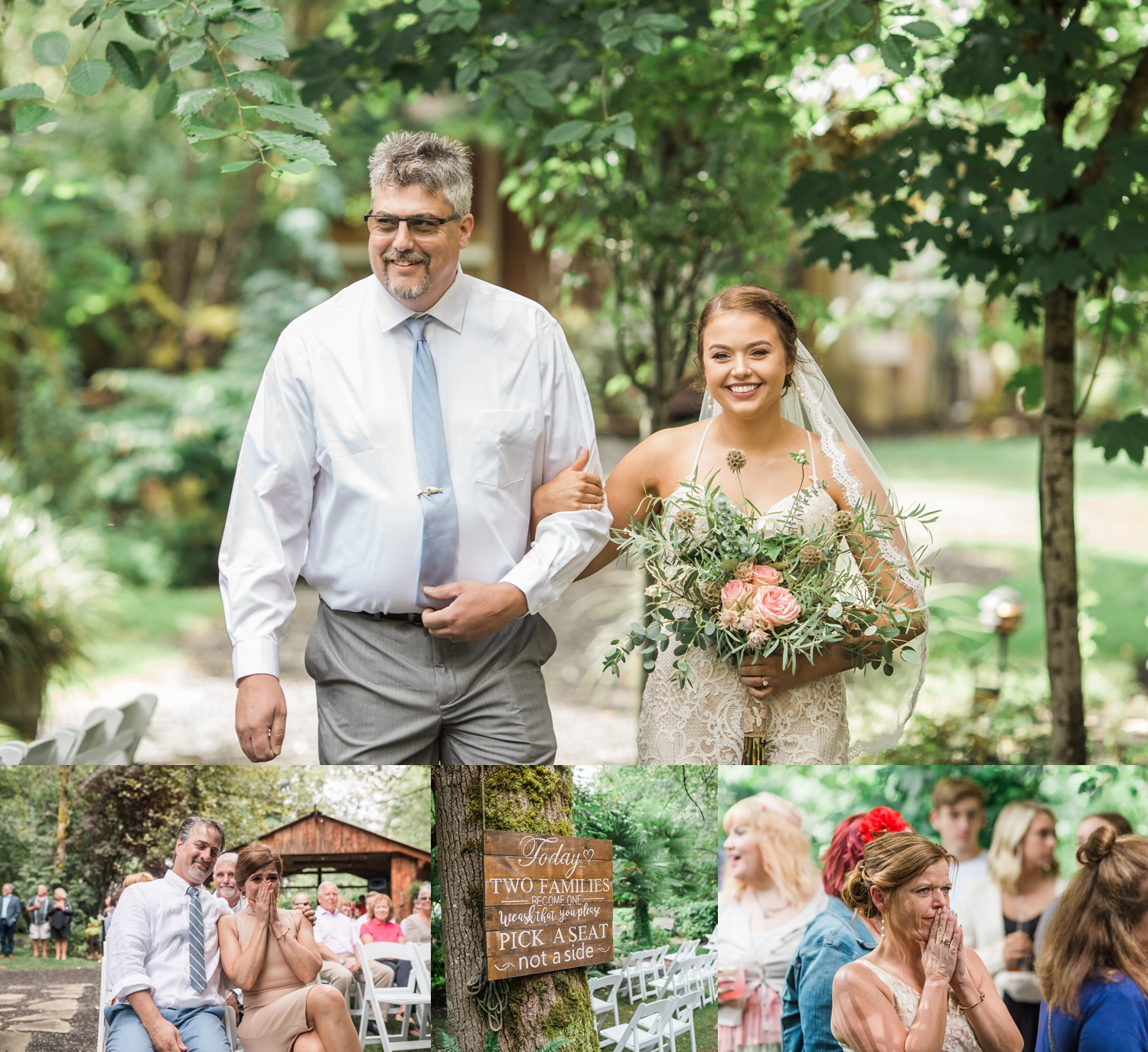 A bride is escorted down the aisle during her wedding ceremony at a summer wedding at Maroni Meadows in Snohomish, a wedding venue near Seattle, WA.   Joanna Monger Photography   Seattle & Snohomish Photographer