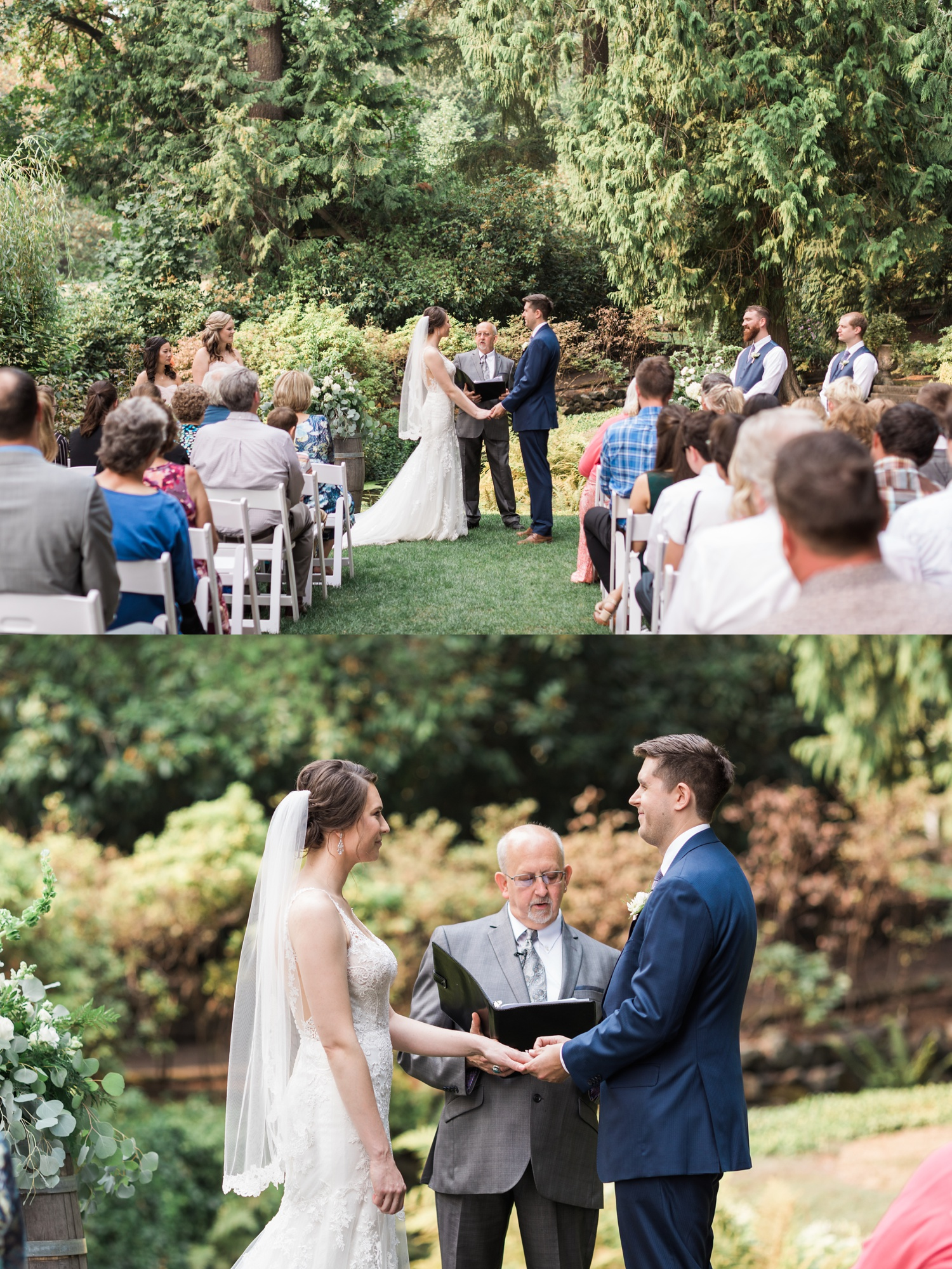 A bride and groom hold hands during their outdoor wedding ceremony at Chateau Lill in Woodinville, a wedding venue near Seattle, WA. | Joanna Monger Photography | Seattle & Snohomish Photographer