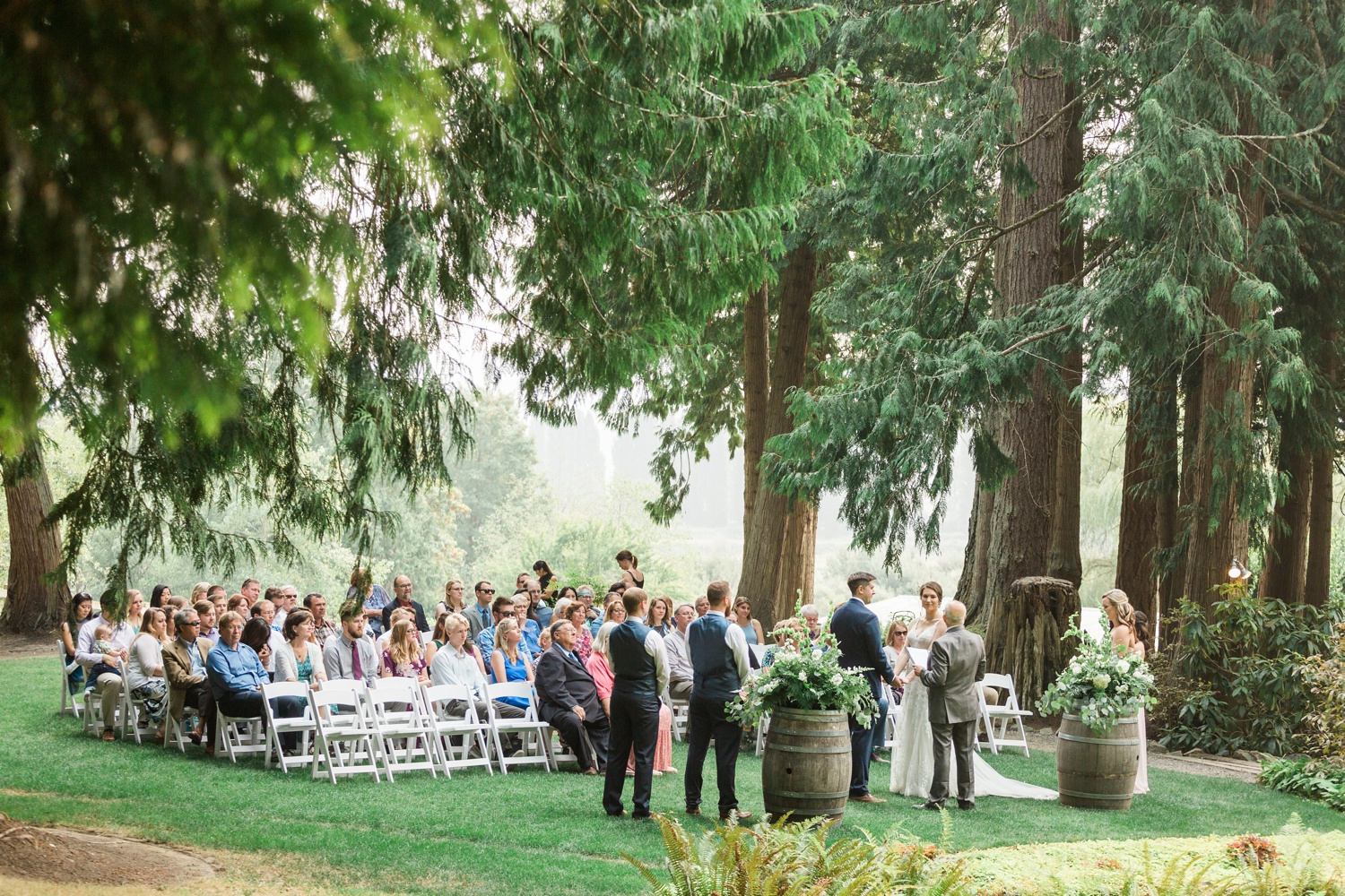 A photo of a wedding ceremony at Chateau Lill in Woodinville, a wedding venue near Seattle, WA.   Joanna Monger Photography   Seattle & Snohomish Photographer