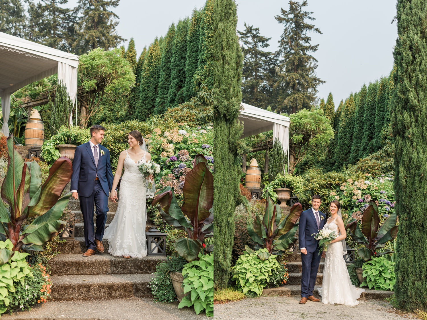 A bride and groom walk down the stairs of a beautiful garden before their wedding at Chateau Lill in Woodinville, a wedding venue near Seattle, WA. | Joanna Monger Photography | Seattle & Snohomish Photographer
