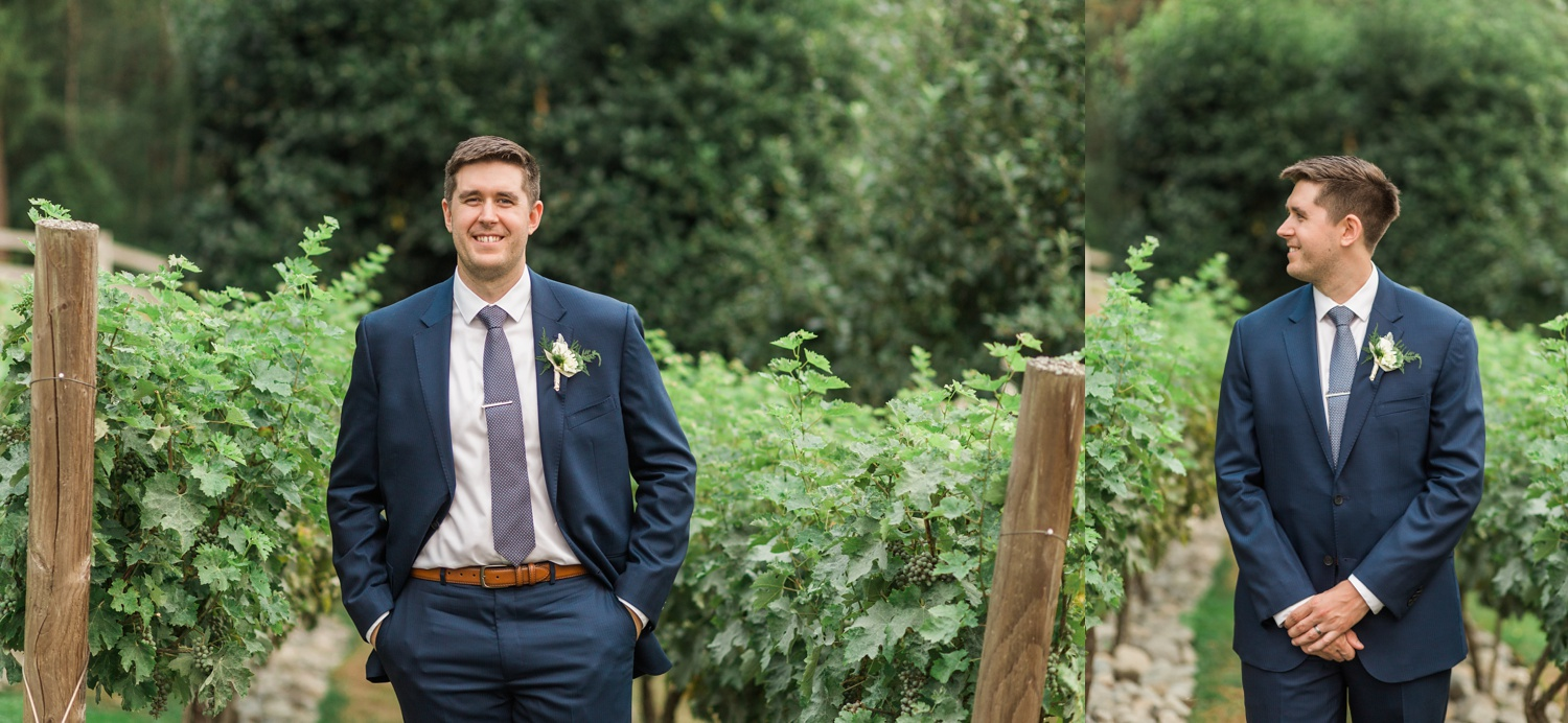 A groom stands in a vineyard before his wedding at Chateau Lill in Woodinville, a wedding venue near Seattle, WA. | Joanna Monger Photography | Seattle & Snohomish Photographer