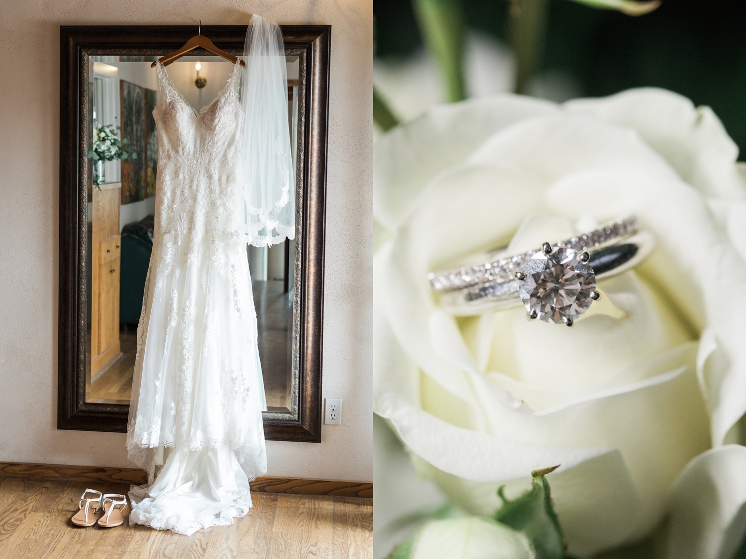 A picture of a hanging bridal dress and ring before a wedding atChateau Lill in Woodinville, a wedding venue near Seattle, WA.   Joanna Monger Photography   Seattle & Snohomish Photographer