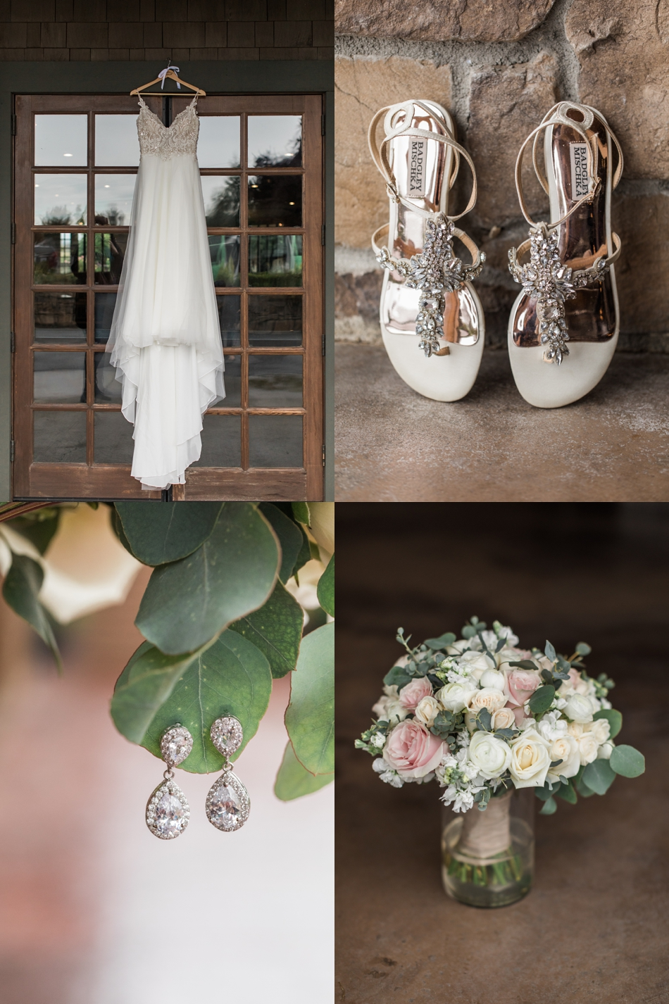Photo of wedding gown, jewelry, shoes, and bouquet for a Hidden Meadows Farms wedding in Snohomish, a rustic yet elegant wedding venue near Seattle. | Joanna Monger Photography