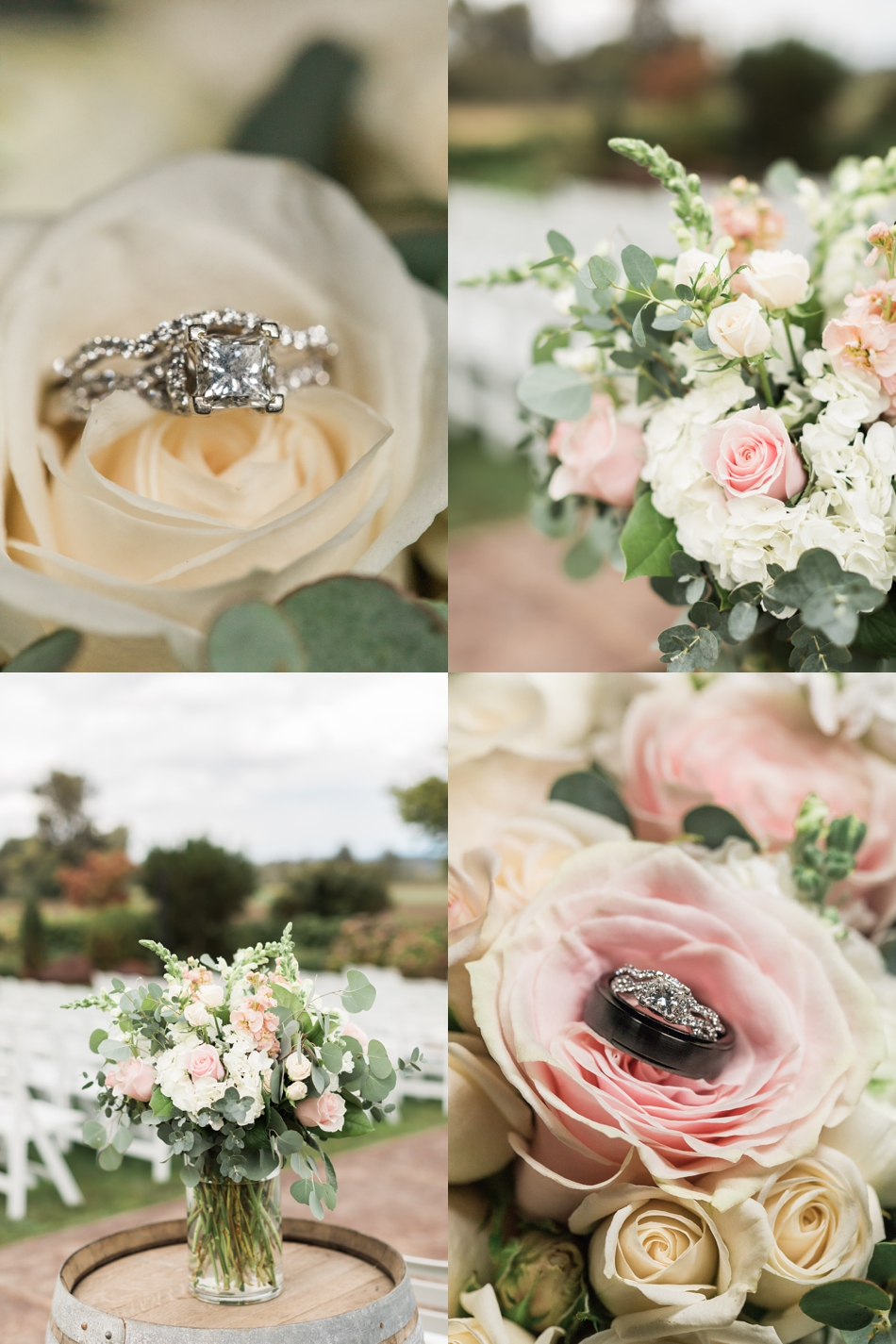 Photo of wedding rings and bridal bouquet at a Hidden Meadows Farms wedding in Snohomish, a rustic yet elegant wedding venue near Seattle. | Joanna Monger Photography