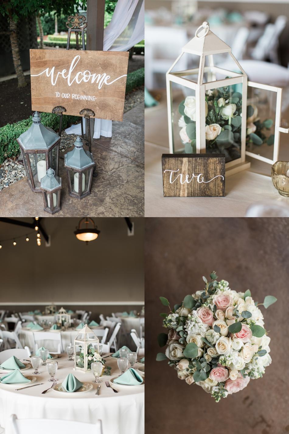 Photo of wedding decor at a Hidden Meadows Farms wedding in Snohomish, a rustic yet elegant wedding venue near Seattle.   Joanna Monger Photography