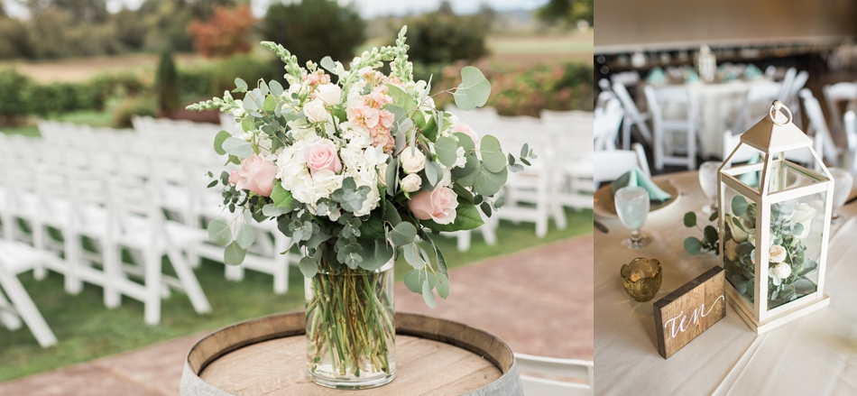 Photo of floral arrangement at a Hidden Meadows Farms wedding in Snohomish, a rustic yet elegant wedding venue near Seattle. | Joanna Monger Photography