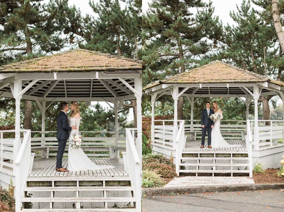 Photo of bride and groom under a gazebo at an intimate wedding at Belle Chapel in Snohomish, a wedding venue near Seattle. | Joanna Monger Photography | Snohomish & Seattle Photographer